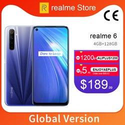 Realme 6 versión Global 4GB 64GB 6,5 ''teléfono móvil Helio G90T Octa Core 64MP Quad cámara móvil 430mAh 30W cargador de la UE