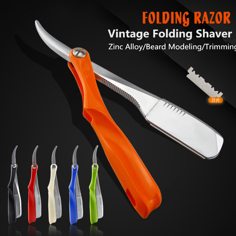 Men Shaving Barber Tools Manual Blade Razor Shaving Head Stainless Steel Scraper Vintage Folding 74 Knife Holder FREE CASE G1105