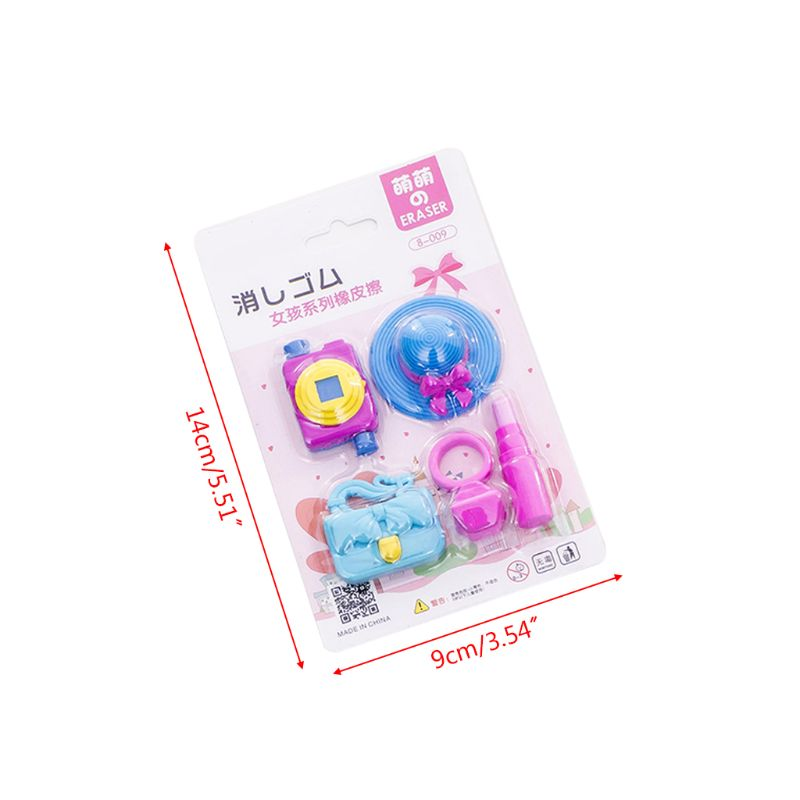 1 Set Leisure Holiday Sun Hat Handbag Pencil Rubber Erasers School Student Korean Stationery Correction Supplies Kids Gifts in Eraser from Office School Supplies
