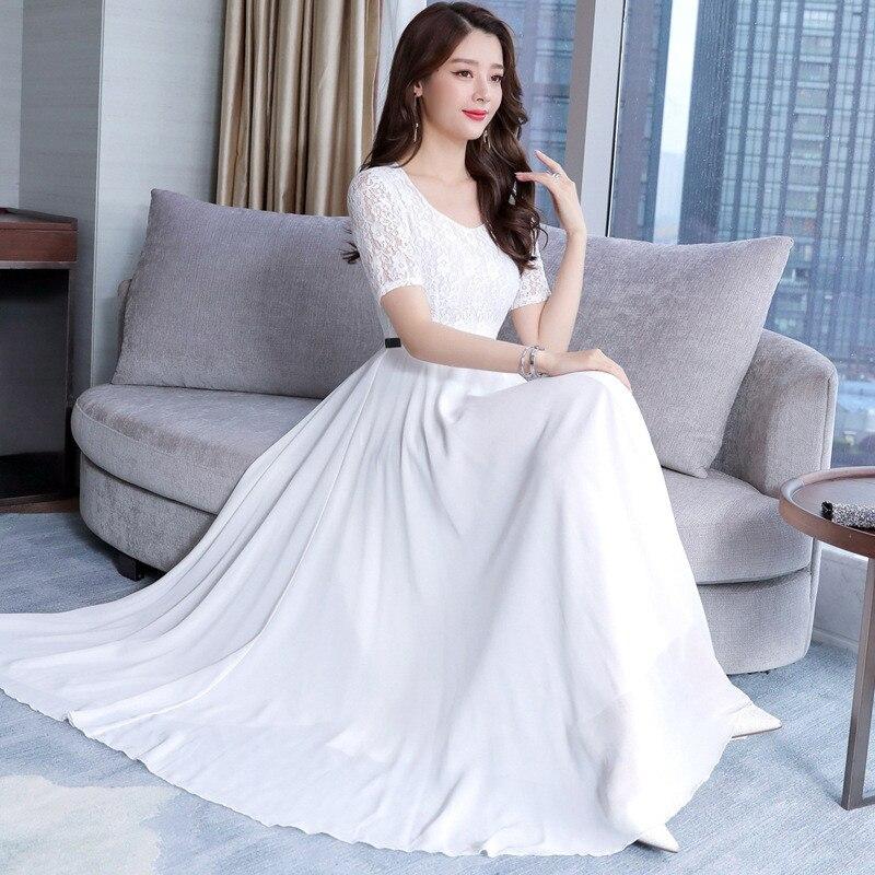 White Chiffon Fairy Long Skirts 2019 Summer Wear New Style Slimming Big Hemline Dress Seaside Holiday Beach Skirt Long