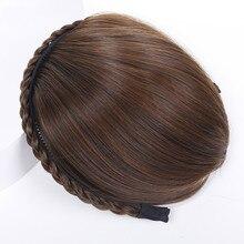 Buqi синтетические косички повязка на голову челка поддельные прямые натуральные термостойкие челки аксессуары для волос для взрослых женщин