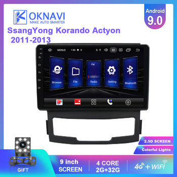 OKNAVI Android 9.0 Car Multimedia Video Player For SsangYong Korando Actyon 2011 2012 2013 Radio Stereo GPS Navigation 4G WIFI image
