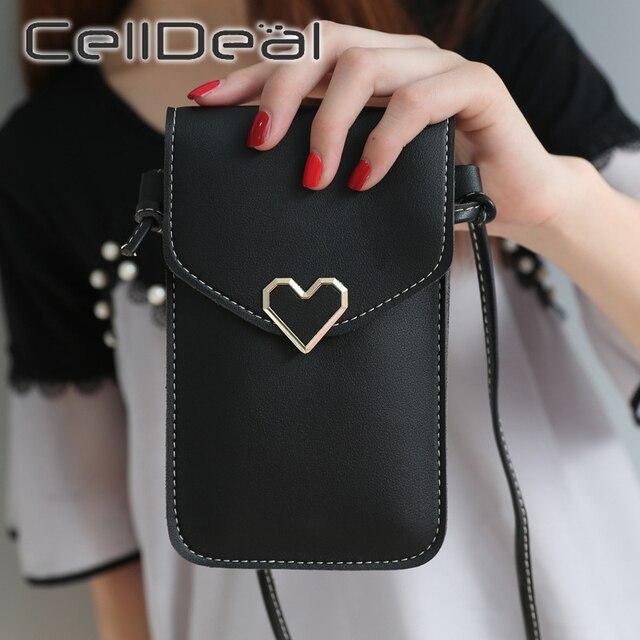 Sac à main de téléphone portable décran tactile des femmes sac Simple Transparent forme de coeur boucle portefeuilles sacs à main en cuir dépaule de lumière dunité centrale