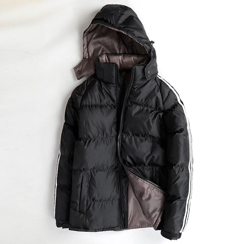 Однотонная Черная куртка на утином пуху, зимняя верхняя одежда для мужчин, зимнее теплое пальто с длинным рукавом, пальто нормальной длины, ...