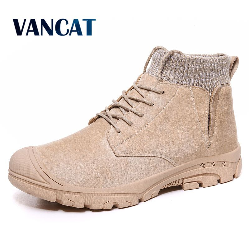 Vancat New Autumn Winter Warm Plush Men's Boots Suede Leather Snow Boots Non-slip Working Boots Outdoor Ankle Boots Size 39-48