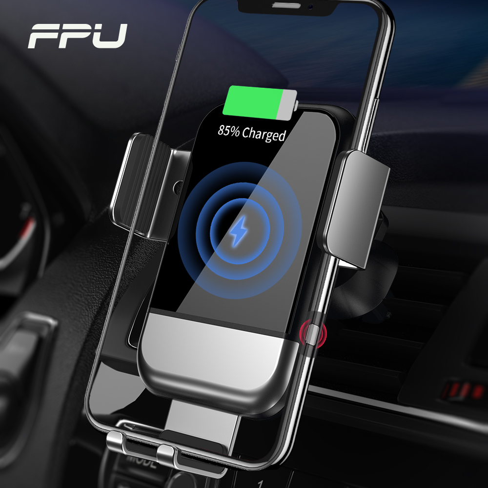 FPU 10W Qi Car Wireless Charger for iPhone Mobile Phone Charger Gravity Induction Fast Wireless Charging Car Phone Holder Stand
