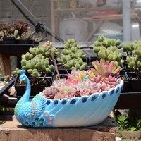 Handmade Peacock Succulent Planter Pot Vintage Cactus Planter Flower Pot Succulent Container Decorative Succulent Planter