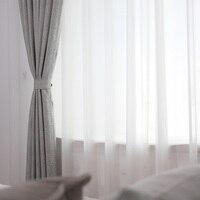 Branco chiffon tule cortinas janela para sala de estar moderna sheer cortina para bedrrom sólida voile cortinas decoração casa painéis
