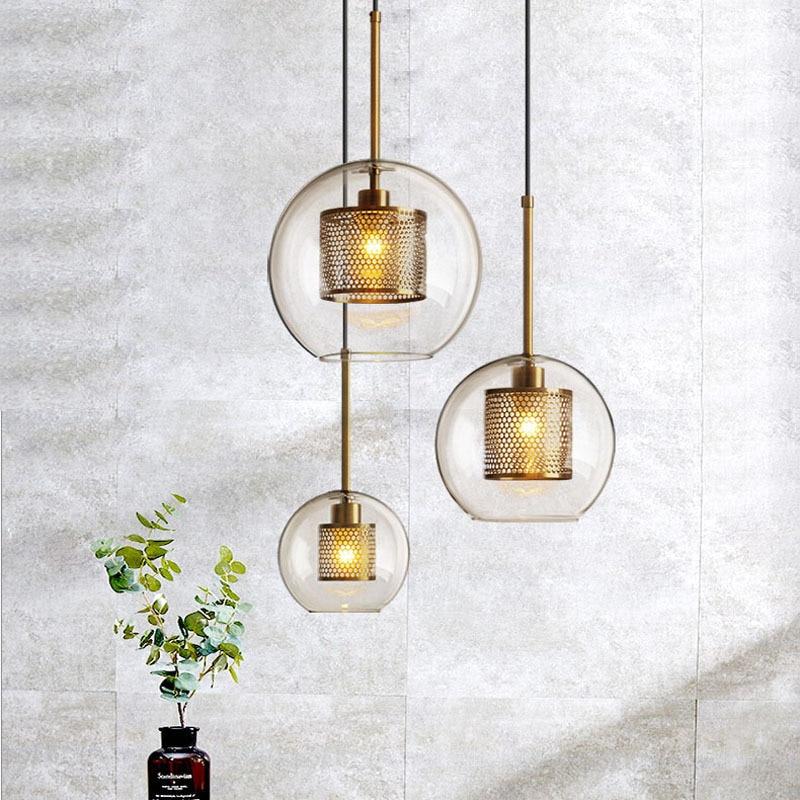 Modern retro glass pendant light restaurant pendant lamp hanging cord light creative designer personality staircase lamps|Pendant Lights| |  - title=