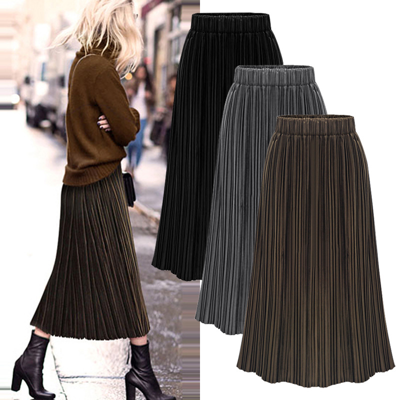Office Skirts Womens 2020 Winter Casual High Waist Long Ladies Pleated Skirt Plus Size Korean Streetwear Women 2020 Jupe Femme