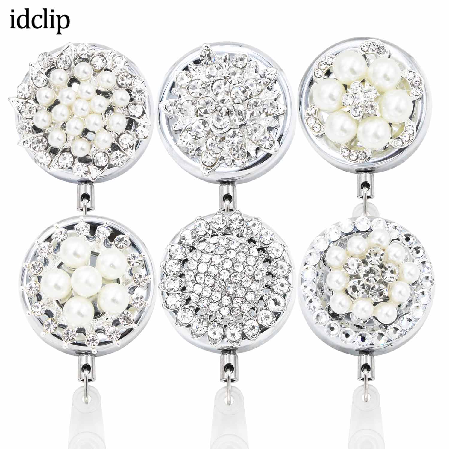 Idclip 1PCS Bling Rhinestone Pearl Badge Reel ID Retractable Badge Holder Belt Clips Metal Heavy Duty Steel Wire Cord