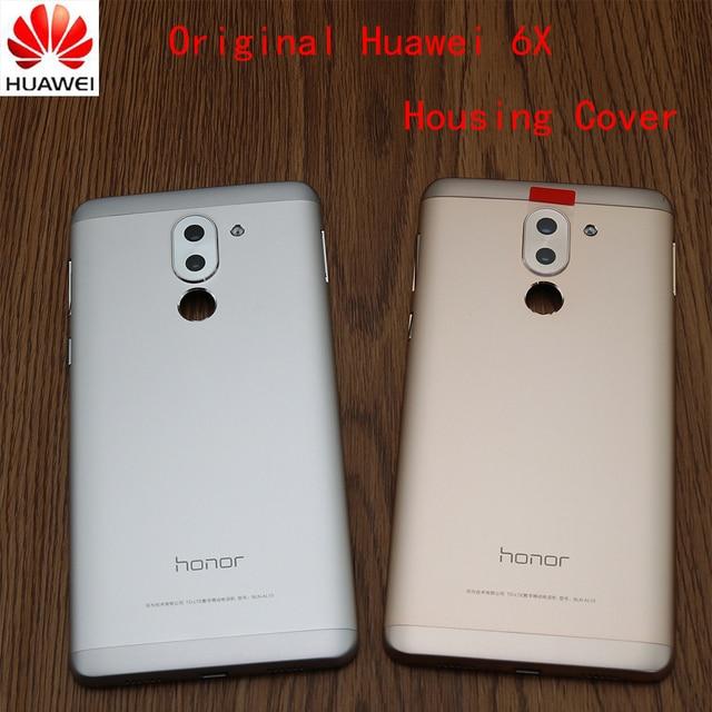 Huawei onur için 6X orijinal arka ile arka pil kapağı konut güç ses düğmesi + kamera Lens arka kapak kapı