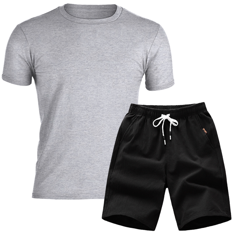 Quality Men's Sets T Shirts+shorts Men Brand Clothing Two Piece Suit Tracksuit Fashion Casual Tshirts Joker Workout Fitness Sets