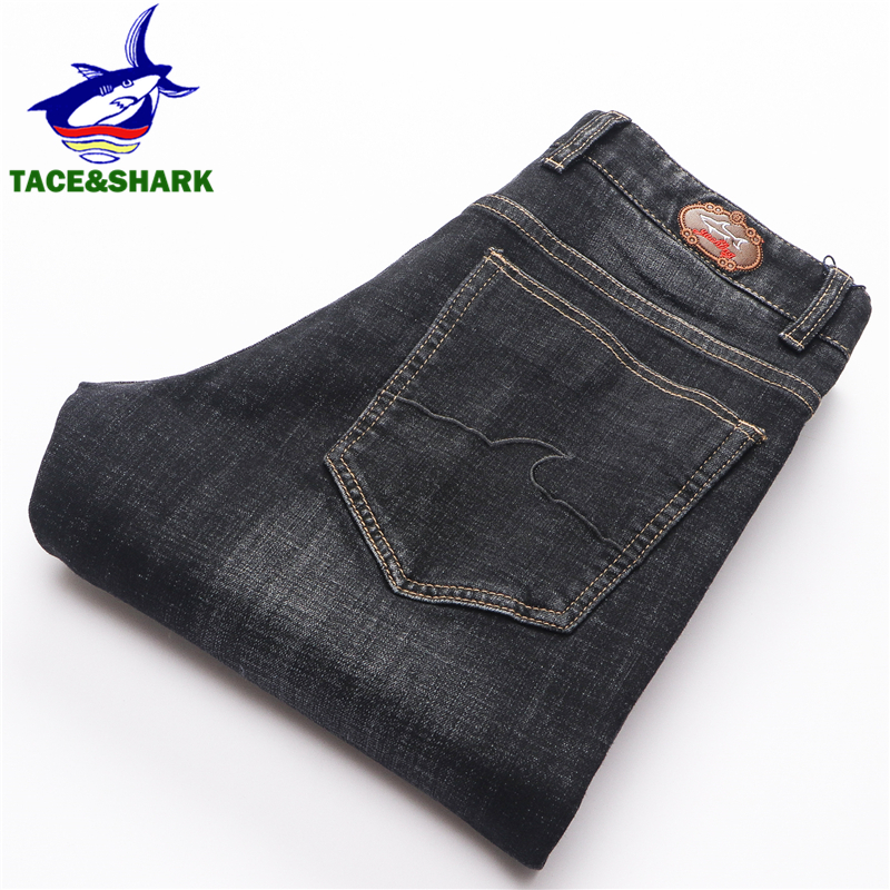 TACE&SHARK Brand Retro Straight Jeans New Style Fashion Mens Embroidery Jeans Male Business Casual Shark Length Pants Plus Size