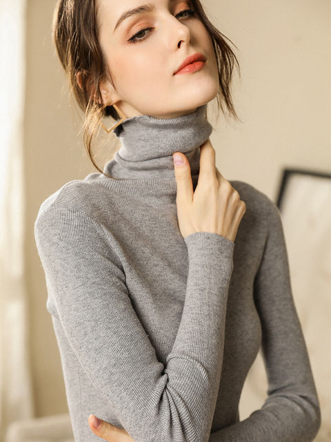 Autumn and Winter New Cashmere Sweater Women High Collar Pullover Fashion Sweater Warm Bottom Sweater 10