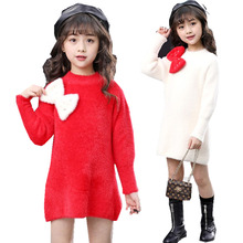 Winter Autumn Kids Girls Sweater Dress With Bow Baby Girls Red Shite Pullover Knitted Sweater Long-Sleeved Cashmere Clothes 2017 autumn spring girls knitted dress children sweater dress with hat kids clothes red white clearence sale