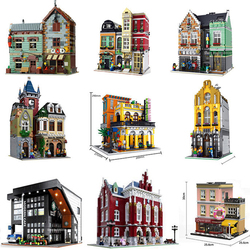 2020 NEW Moc Creator Expert City Street View 2524pcs European Style Bookshop Model Building Blocks Bricks