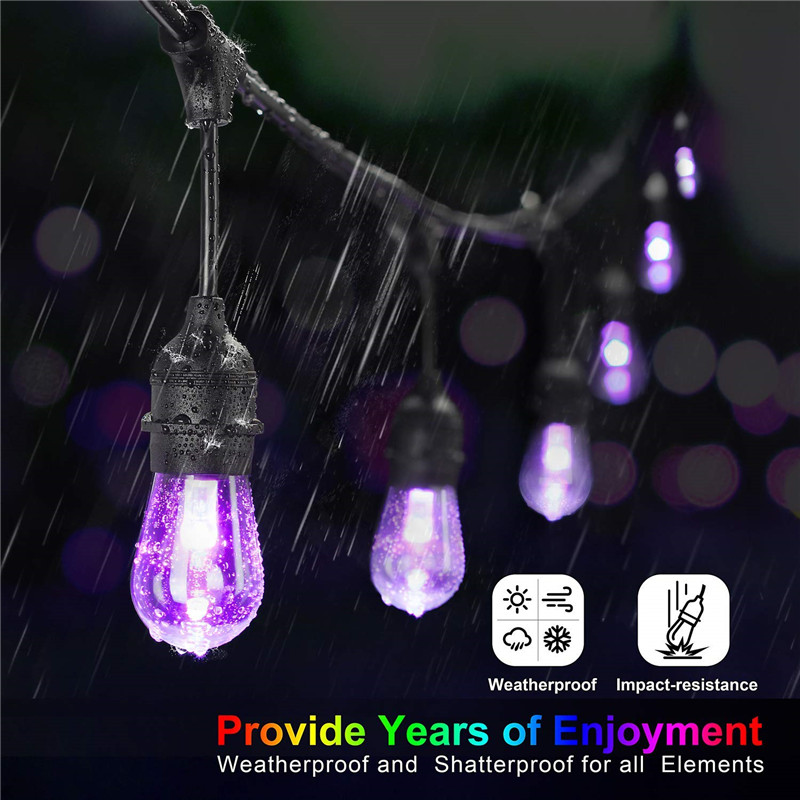 Image 2 - Waterproof Heavy Duty Outdoor RGB LED String lights Connectable Festoon for Party Garden Christmas Holiday Garland Cafe-in Lighting Strings from Lights & Lighting