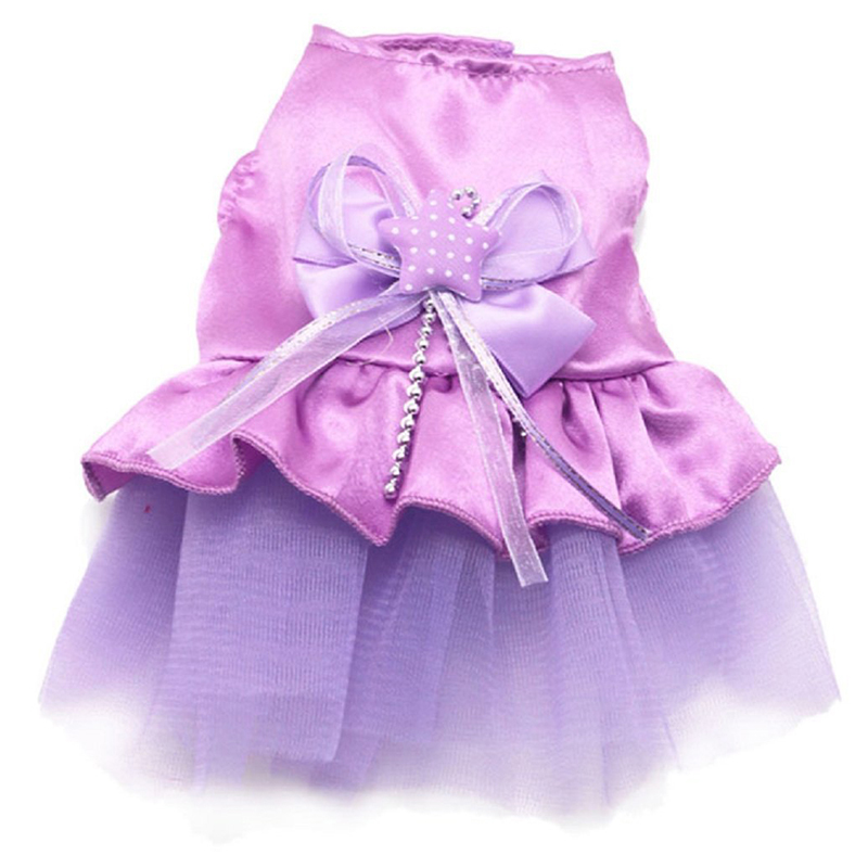 Dog Cat Bow Tutu Dress Lace S Kirt Pet Dog Costume Dog Clothes Purple