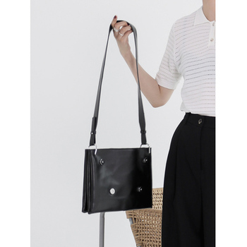 TANTO store DIRTY SIX 2019 black soft leather personality bag organ square bag shoulder crossbody bag