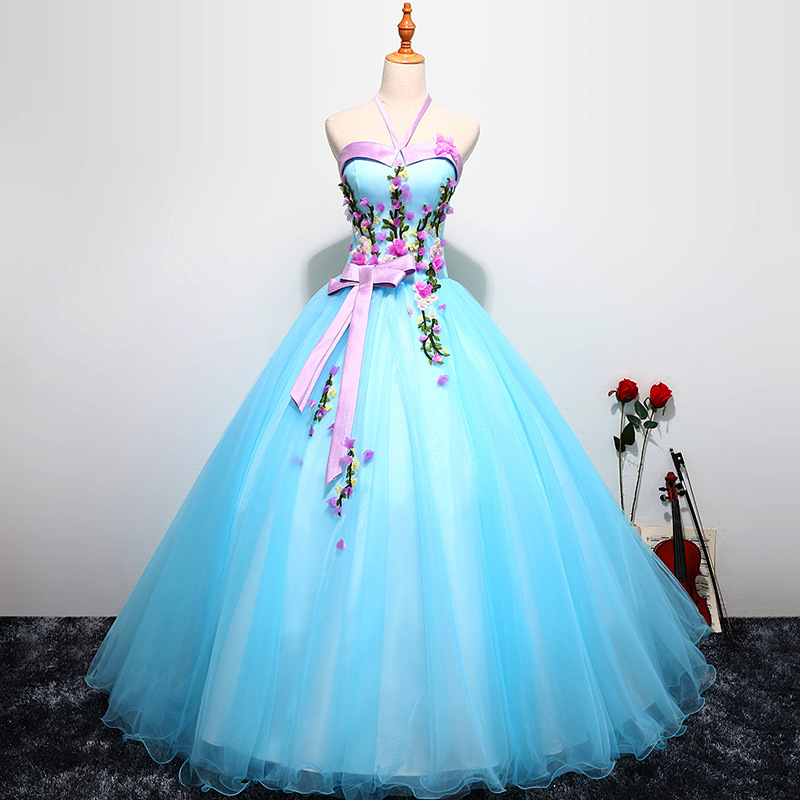 Quinceanera Dresses New Pink Blue Color Tulle With Flowers Halter Applique Vestidos De 15 Anos Sweet 16 Dresses Prom Dresses