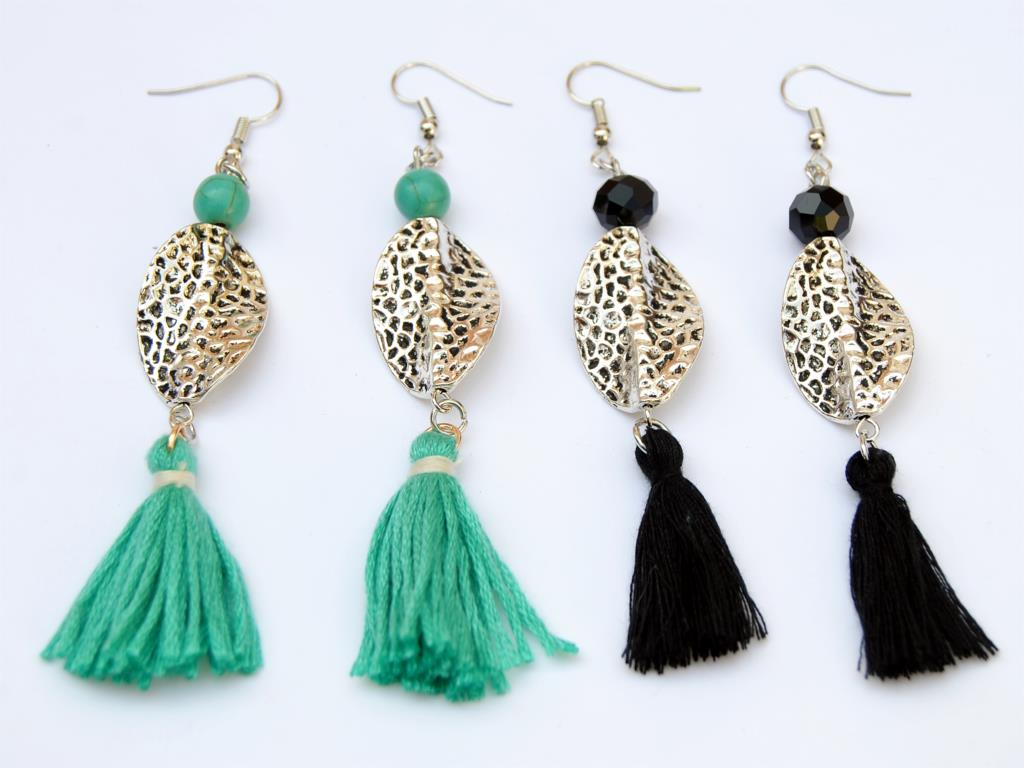 Buy 1Pair Hanmade Tassels Women Earrings Boho Style Colorful Beads Dangle Pendientes Jewelry Supplies E975/E976 for only 1.1 USD