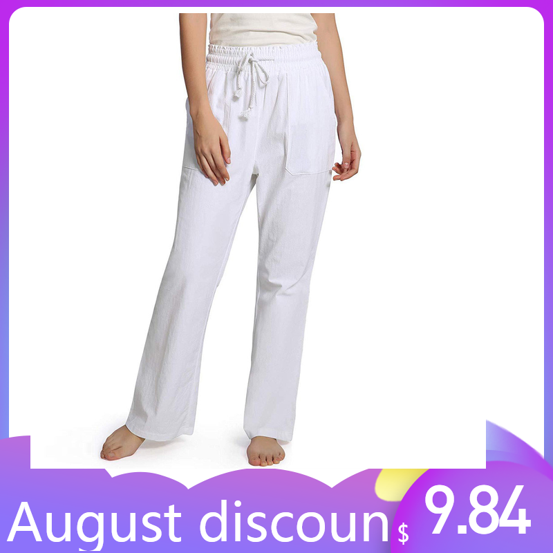 Womail 2019 Women's High Waist   Wide     Leg   Trousers Soft And Breathable Cotton And Linen Casual Loose Drawstring White   pants   W30426