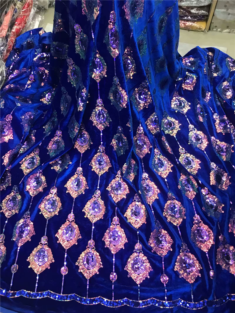 Velvet Lace Fabric for Dresses Latest Nigerian French Tulle Lace with Sequin High Quality African Sequins Lace Fabric