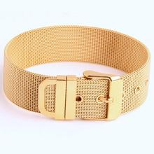 15-19.5cm Adjustable 316L Stainless Steel Silver/Gold/Black/Rose Gold Leather Belt Bracelet 18mm Charming Unisex Jewelry