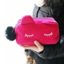 New Cute Flannel Small Cosmetic Bags Women Makeup Cartoon Ca