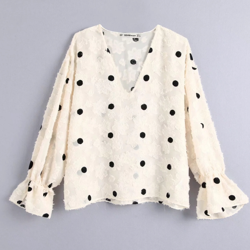 Women Vintage V Neck Polka Dots Embroidery Casual Blouse Tassel Texture Smock Shirts Leisure Female Chemise Blusas Tops LS6003