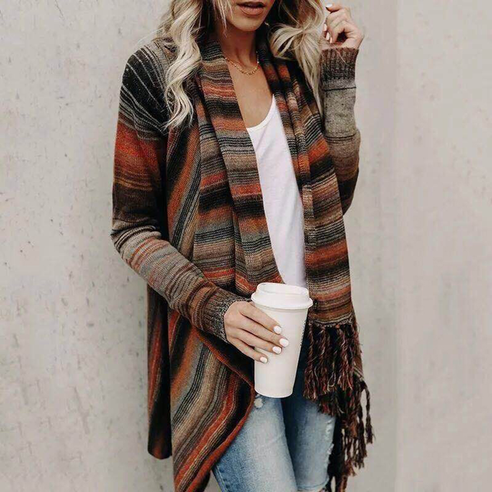 Womens Coats Autumn And Winter Cape Stripe Fringe Long Coat Cape Loose Sweater Cardigan Hand Wash Wrinkle Proof Fashion Coats
