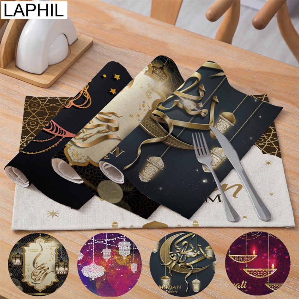 LAPHIL EID Party Table Decoration Muslim Ramadan Mubarak Decoration Cotton Linen Table Placemat Ramadan Kareem Home Decor
