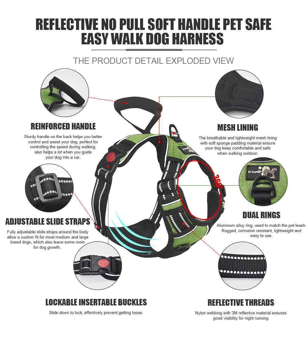 Durable Nylon Material Adjustable Front and Back Pull Protector