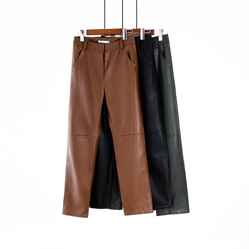 Toppies-pantalones de piel sintética con forro polar para mujer, Pantalones rectos de cintura alta, empalmados de color sólido, ropa de calle