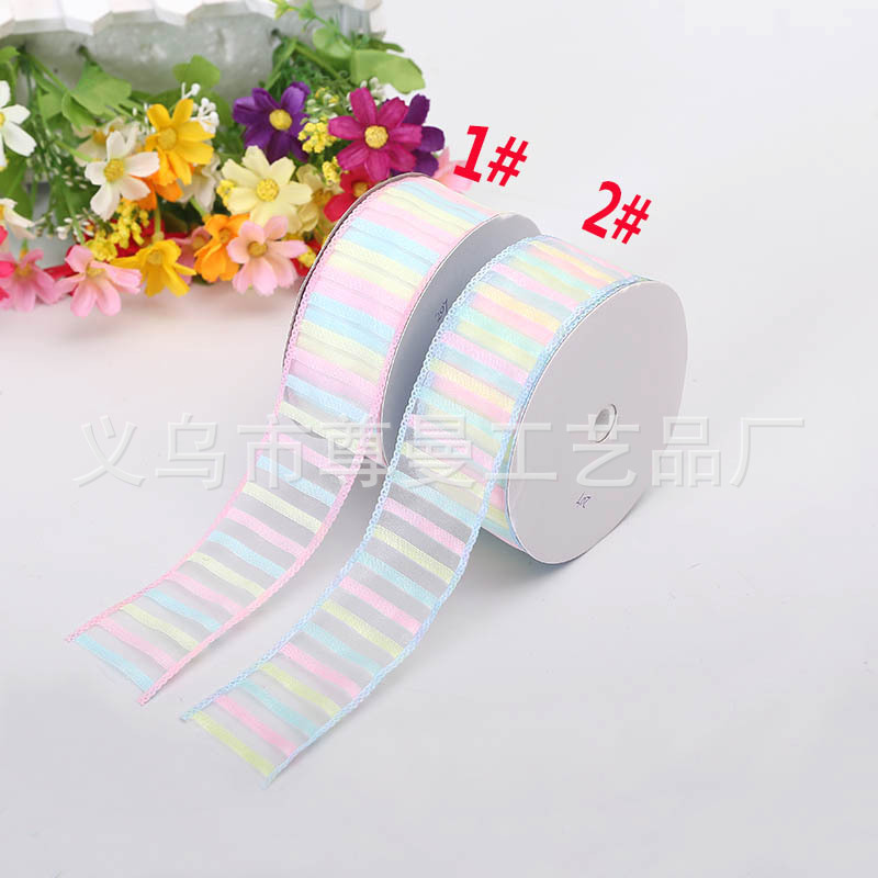 <font><b>20</b></font> yards 3.8cm stripe Organza Sheer Ribbon for Gift Packing Supplies Hand Craft Stuff image