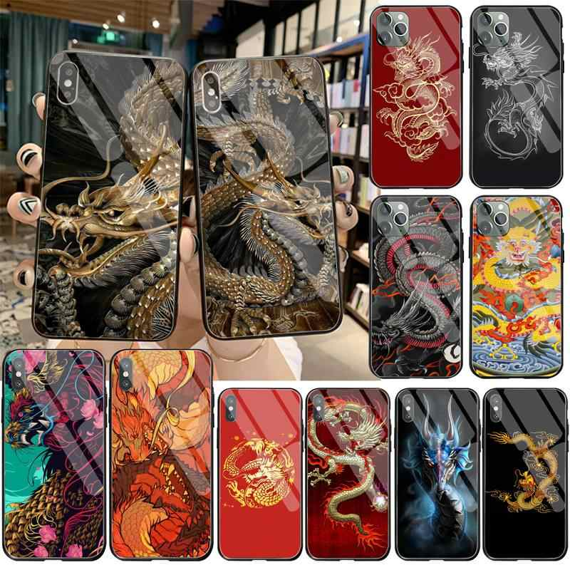 Cutewanan Chinese Stijl Draak Bling Leuke Telefoon Case Gehard Glas Voor Iphone 11 Pro Xr Xs Max 8X7 6S 6 Plus Se 2020 Case