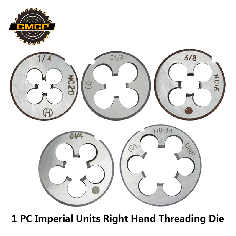 Free Shipping 1pc G1/8-28 G1/4-19 1/4 NC20 3/8 NC16 1/2-28 UNEF 7/8 14UNF Right Hand Threading Die For Molding Machine Screw Die