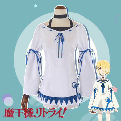 Hight Quality Anime RETRY Golden Hair Aku  Woman Cosplay Costume Top + Shorts + Headwear + Necklace + Band