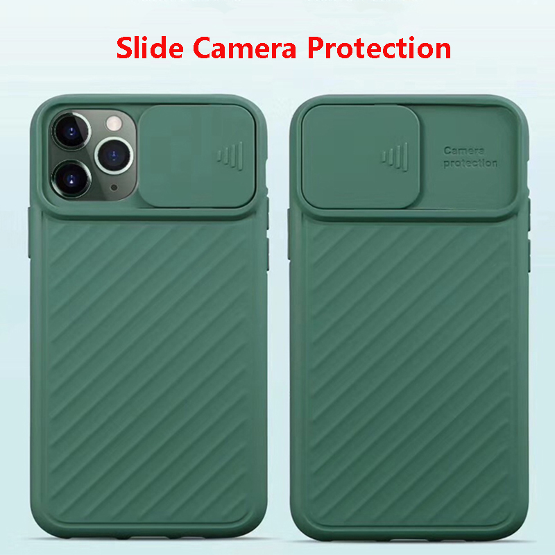 For iPhone 11 Pro XS Max XR Case Slide Camera Cover For iphone 6 7 8 6s plus Push Pull Lens Protection Silicone Shockproof Coque image