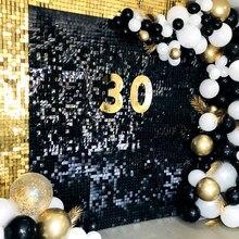 Panneau décoratif mural à paillettes noires, arrière-plan de fête, plaque décorative, panneau de couleur de fond de boutique de mariage, Glam, panneau publicitaire personnalisé