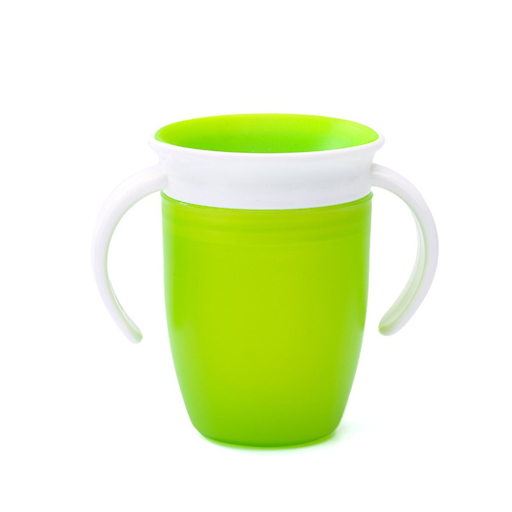 2pcs 360 Degrees Can Be Rotated Magic Cup Baby Learning Drinking Cup With Double Handle Leakproof  Infants Water Cups Bottle