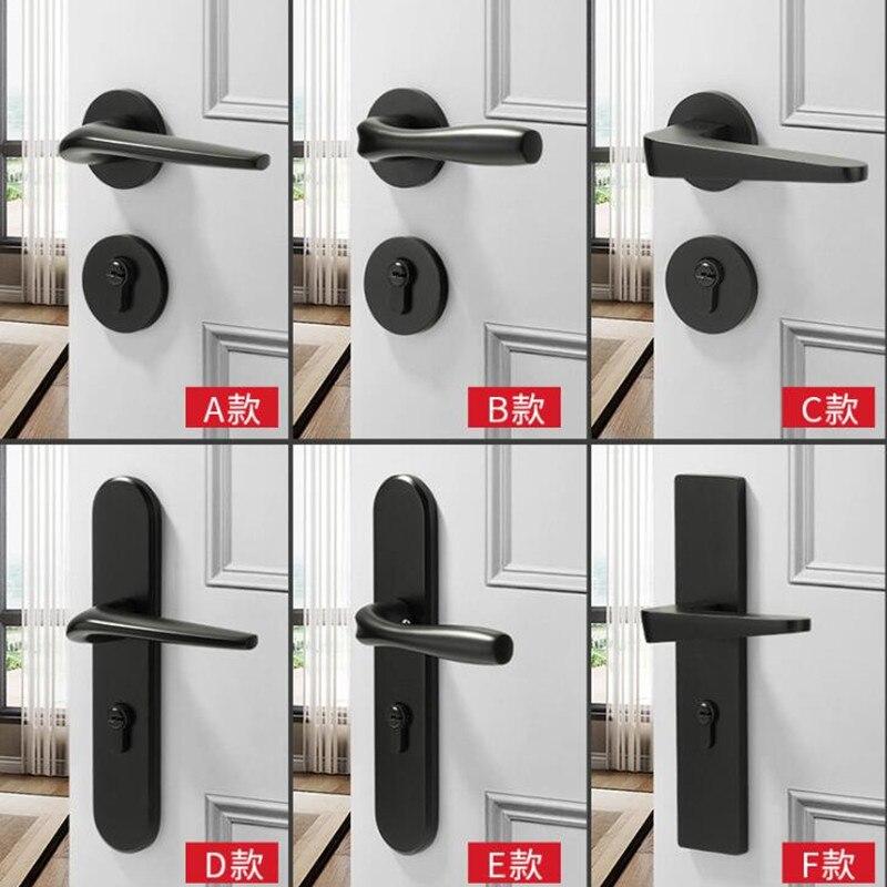 Black Space Aluminum Interior Door Lock Set Bedroom Modern Mechanical Silent Door Lock Hardware Handles With Lock Body