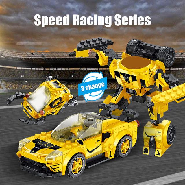 City Creator Mechanical Deformation Robot Racing Vehicle Model Building Blocks Technic Sports Car Bricks Toys For Children Boys