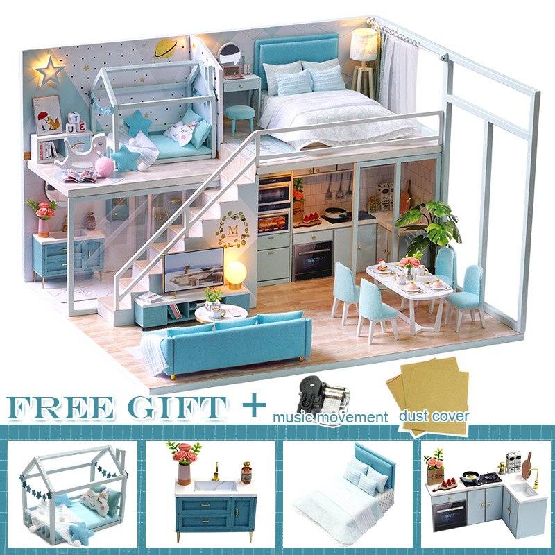 Casa de bonecas diy casas de boneca de madeira em miniatura casa de bonecas móveis kit brinquedos casa para crianças presente natal boneca móveis casa de campo