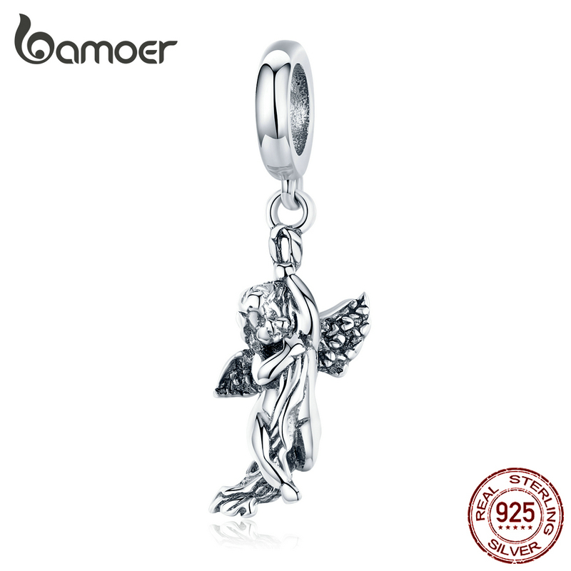 Bamoer Love God Cupid Pendant Charm Fit For Original Silver Snake Braelet Or Necklace Sterling Silver 925 Jewelry Making SCC1405
