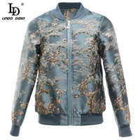 LD LINDA DELLA Fashion Runway Autumn Winter Jackets Coat Women Long Sleeve Crystal Beading Vintage Jacquard Outwear