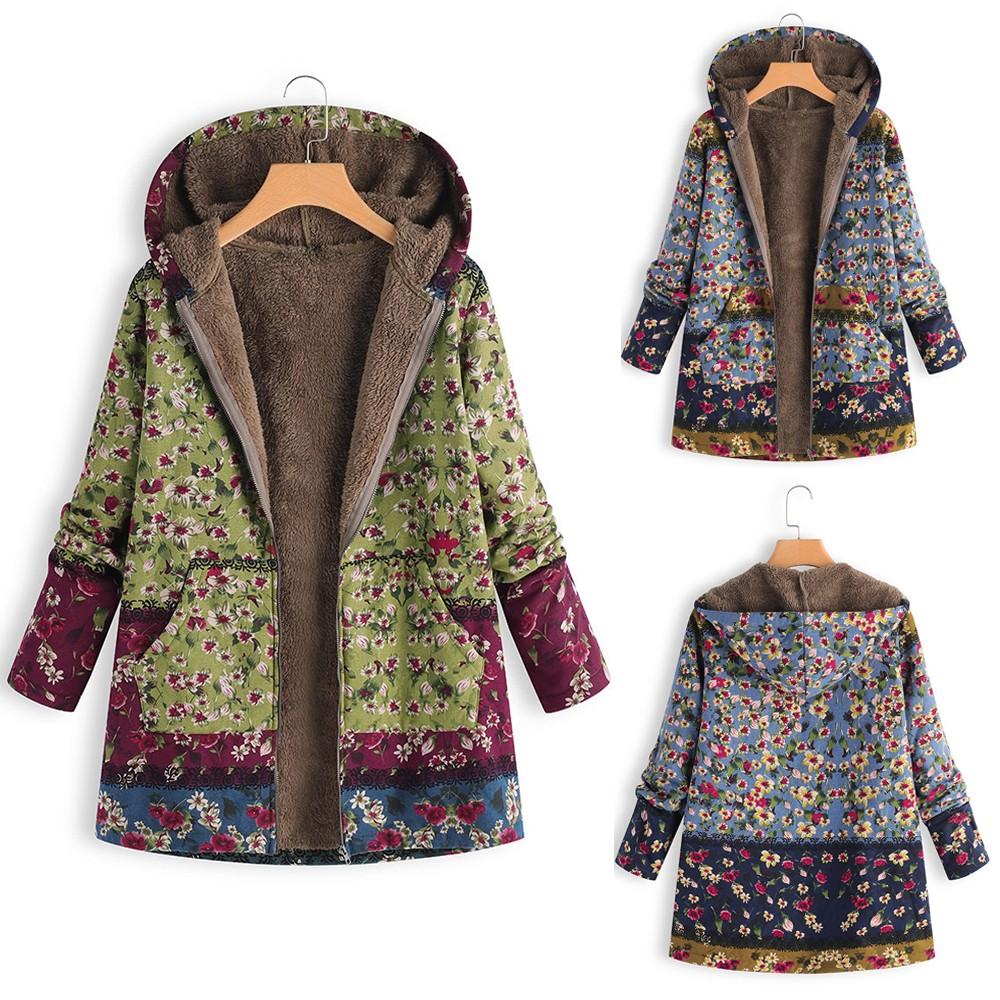 Hc96c92c3c16446de98181058fe0f2159F Female trench coat women's windbreaker тренч ropa Winter Warm Outwear Floral Print Hooded Pockets Vintage Oversize Coats h4