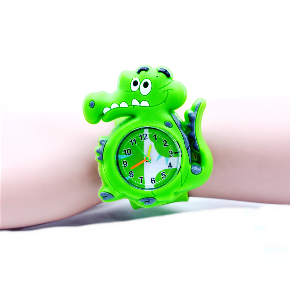 Boys' Dinosaur Watches 3D Animal Cartoon Clock For Kids Toys Rubber Watch Belt Quartz Watches