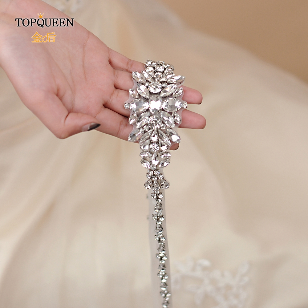 TOPQUEEN S352 Crystal Evening Party Prom Dresses Accessories Wedding Belt ,Bride Waistband Bridal Sashes Belts 1CM Ribbon